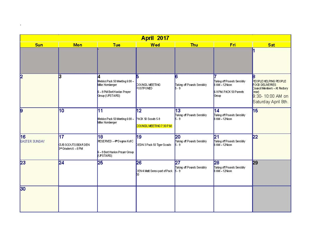 April 2017 Calendar_